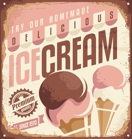 Photo pour Retro ice cream tin sign design concept - image libre de droit