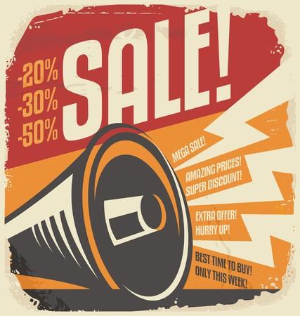 Illustration pour Retro sale poster design concept - image libre de droit