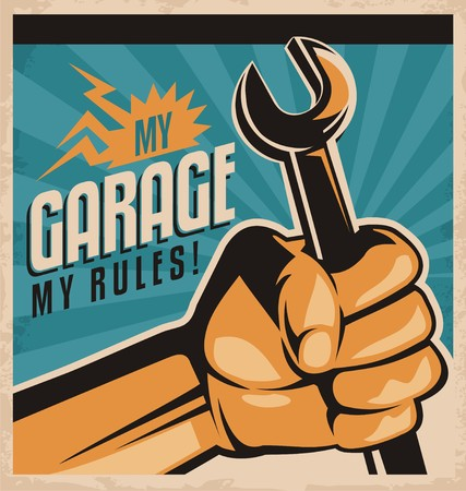 Illustration for Retro Garage Poster - Royalty Free Image