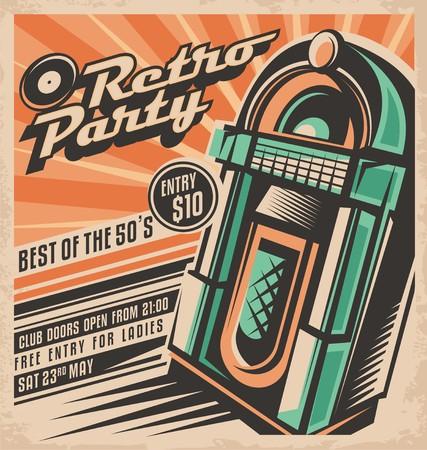 Photo pour Retro party invitation design - image libre de droit
