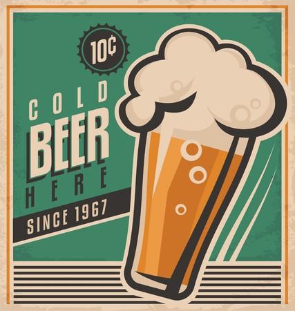 Illustration pour Retro beer poster - image libre de droit