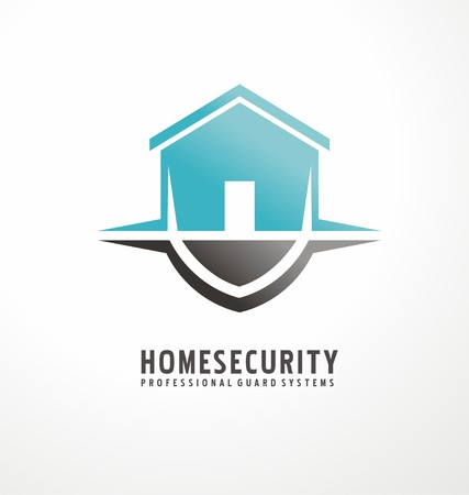 Creative symbol design with house shape as part of the shield