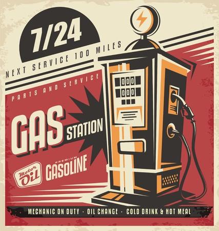 Photo pour Retro poster design for gas pump - image libre de droit