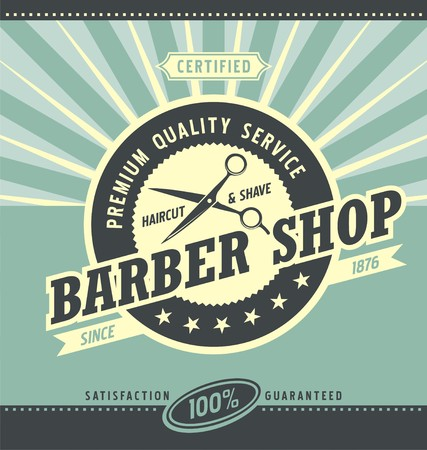 Barber shop retro poster design template
