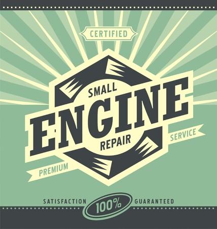 Illustration pour Small engine repair retro ad design - image libre de droit