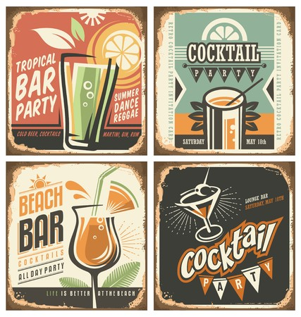 Foto per Cocktail bar retro tin sign set - Immagine Royalty Free