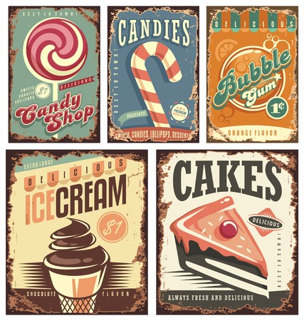 Ilustración de Vintage candy shop collection of tin signs - Imagen libre de derechos
