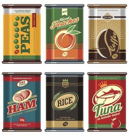 Illustration pour Vintage food cans - image libre de droit