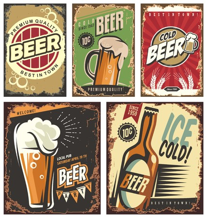 Illustration for Retro beer vector signs set - Royalty Free Image