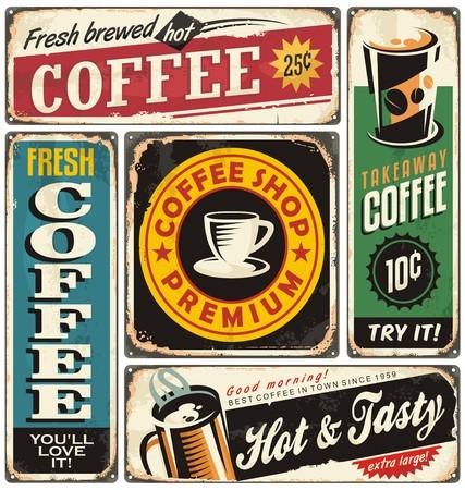 Foto de Coffee shop retro metal signs collection - Imagen libre de derechos