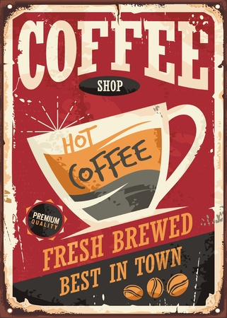 Illustration pour Coffee shop retro tin sign design with coffee cup on red background - image libre de droit