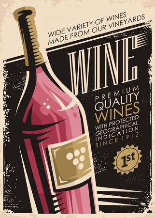 Photo pour Wine retro poster design with red wine bottle on old paper background - image libre de droit