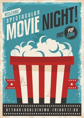 Illustration pour Movie cinema night retro poster design. Popcorn graphic with film strip entertainment brochure template. - image libre de droit