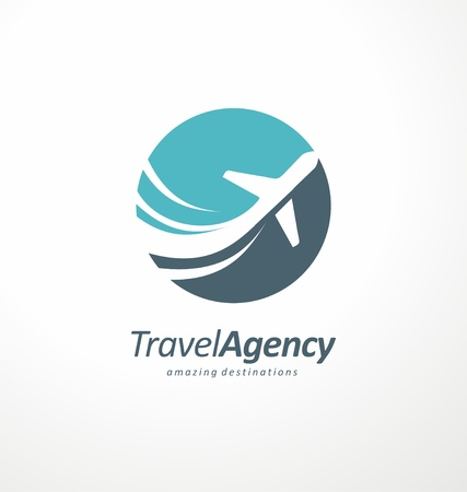 Ilustración de Travel agency logo design idea with airplane in negative space - Imagen libre de derechos