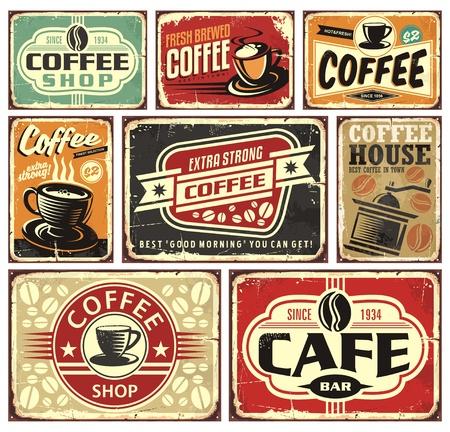 Ilustración de Coffee signs and labels collection - Imagen libre de derechos