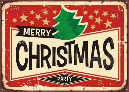 Ilustración de Merry christmas vintage sign banner background vector illustration - Imagen libre de derechos
