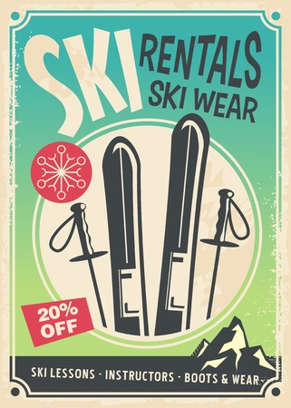 Illustration pour Ski rentals retro promo poster design - image libre de droit