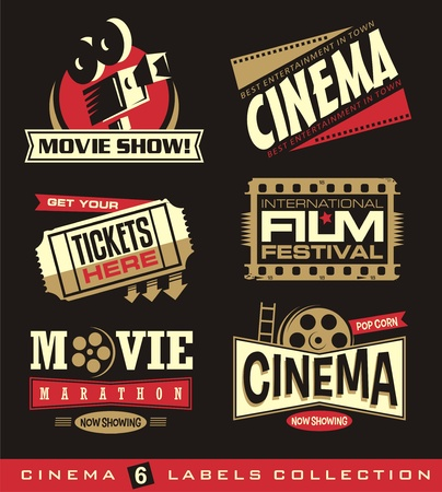 Illustration for Cinema and movies set of labels, emblems, banners and design elements. - Royalty Free Image