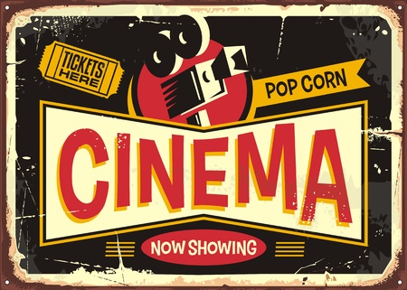 Ilustración de Cinema retro tin sign design template. Vintage entertainment poster layout with movie camera and cinema ticket on a black background. - Imagen libre de derechos