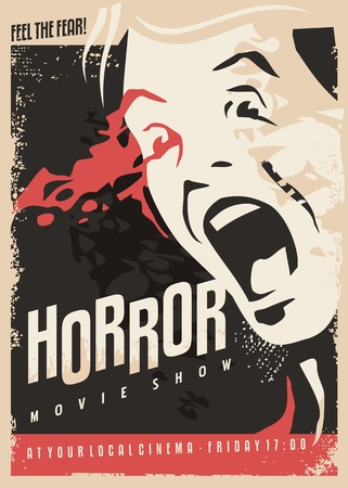 Illustration pour Horror movie show retro cinema poster design with scared man screaming and lots of blood on dark background. - image libre de droit