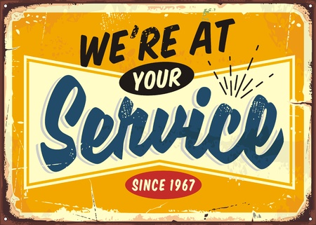 Illustration for We are at your service retro store sign design - Royalty Free Image