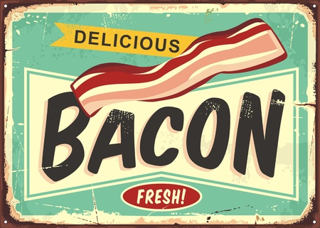 Illustration pour Delicious bacon retro sign - image libre de droit