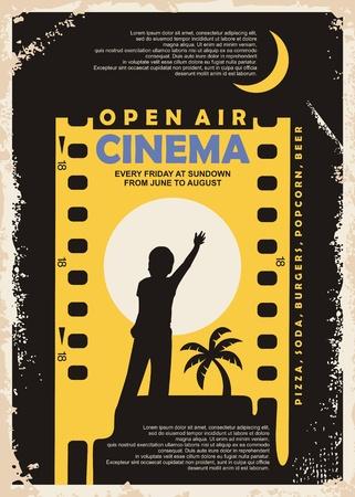 Illustration pour Open air cinema vintage poster vector design - image libre de droit
