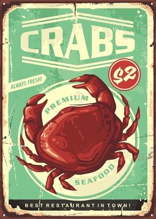 Illustration for Crabs vintage tin sign. Seafood restaurant retro poster design - Royalty Free Image