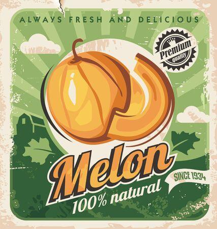 Photo pour Cantaloupe melon retro poster design. Farm fresh melons vintage ad concept. - image libre de droit