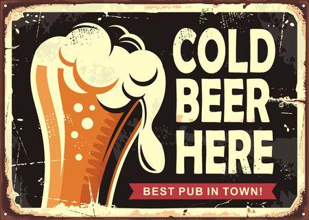 Foto für Pub sign with glass of beer. Cold beer here vintage poster design. Drinks vector illustration. - Lizenzfreies Bild