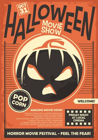 Illustration for Halloween movie show promo poster template. Cinema horror movies festival flyer layout. Vector illustration on orange paper background. - Royalty Free Image
