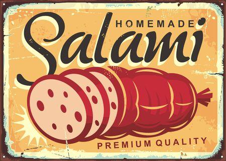 Ilustración de Homemade salami retro poster design with fresh meat product. Vintage tin sign with delicious sausage on old yellow background. - Imagen libre de derechos