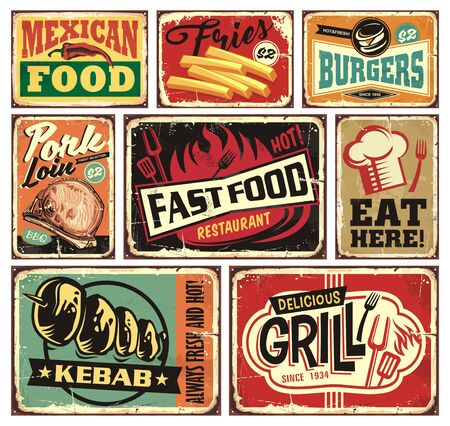 Foto per Collection of retro food restaurant signs and posters. Mexican food, burgers, French fries, kebab, fast food, grill, pork loins and eat here vintage vector billboards set. - Immagine Royalty Free