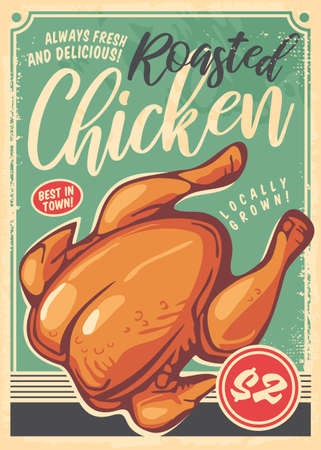 Photo pour Roasted chicken poster in retro style made for restaurants. Food flyer with turquoise background. Vector vintage image. - image libre de droit