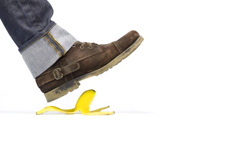 About to slide with a banana peel