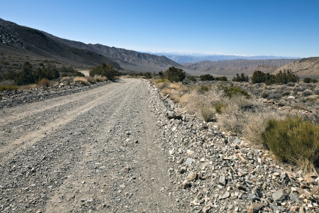Rough road in Death Valley National Park, California. Death Valley is a desert valley located in Eastern California.