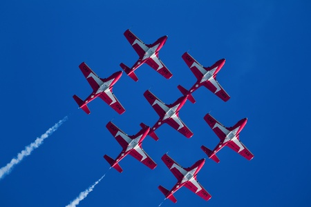 SAN FRANCISCO, CA - OCTOBER 8: The Snowbirds Demonstration Team (431 Squadron), demonstrate the skill, professionalism, and teamwork of Canadian Forces personnel during Fleet Week on October 8, 2011 in San Francisco, CA.