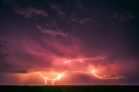 Photo for Lightning with dramatic clouds image . Night thunder-storm - Royalty Free Image