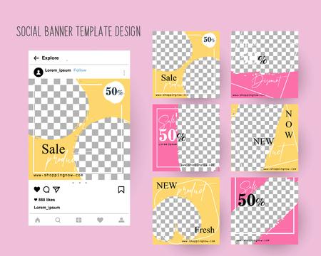 Illustration pour Editable Post Template Social Media Banners for Digital Marketing. Color Pink Green. Promo Brand Fashion. Vector Illustration - image libre de droit