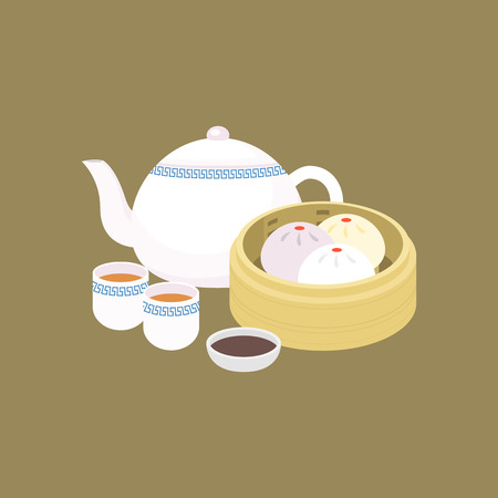Chinese dim sum steamed bun in basket with porcelain teapot and black vinegar sauce, concept of cantonese cuisine in flat design vector