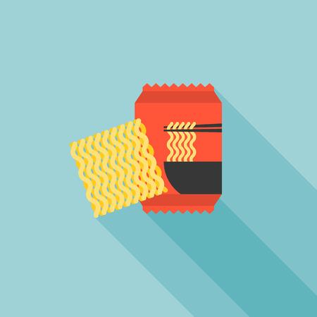 instant noodle icon, flat design vector