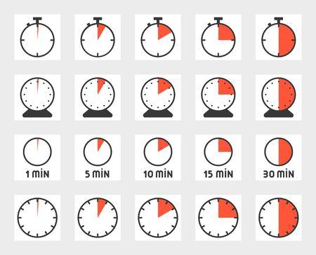 Ilustración de Time duration, pixel perfect icon set. Size 128 px, 4 px stroke illustration. - Imagen libre de derechos