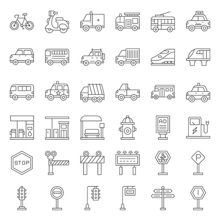 Transportation set with sign on road side, outline icon