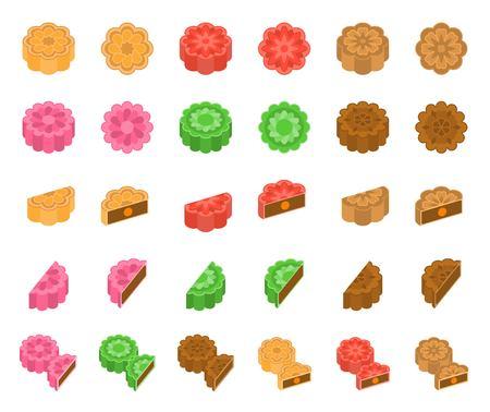 Illustration pour Chinese Mooncake for mid autumn festival in various taste, flat design - image libre de droit