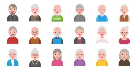Illustration for illustration of older people isolated on white background in flat style, pixel perfect icon - Royalty Free Image