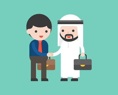 Illustration pour Cute arab business man shake hands with business man, deal or cooperation success situation concept, flat design - image libre de droit