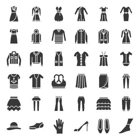 Ilustración de Female clothes, bag, shoes and accessories, solid vector icon set 3 - Imagen libre de derechos