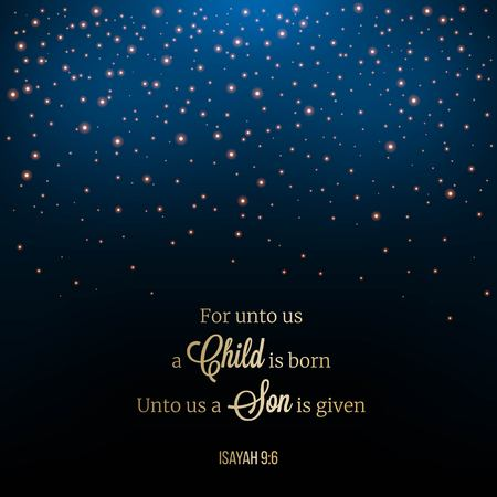 Illustration for for unto us a child is born,biblical phrase typography. glitter star or snow drop night scene on mesh background, Christmas theme for use as wallpaper or backdrop - Royalty Free Image