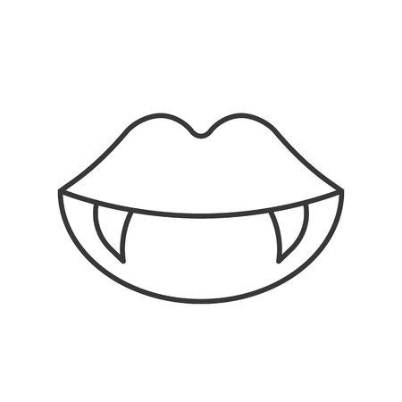 Illustration pour vampire teeth, Halloween related icon, outline design editable stroke - image libre de droit