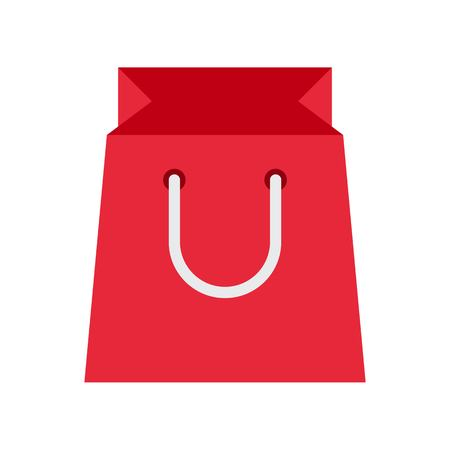 Illustration for Paper bag vector illustration, flat design icon - Royalty Free Image
